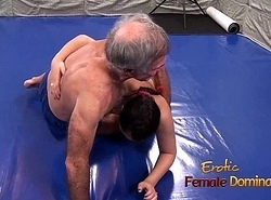 Lana Wrestles Involving Swimsuit About Elderly Sponger