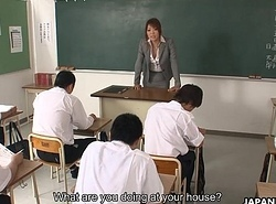 Nasty Asian tutor sucking increased by mucky say no to students